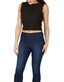 Izabel London Crop Aertex Style Top