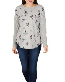 Izabel London Bird Flight Zip-Back Top