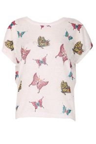 Izabel London Butterfly Print T-Shirt