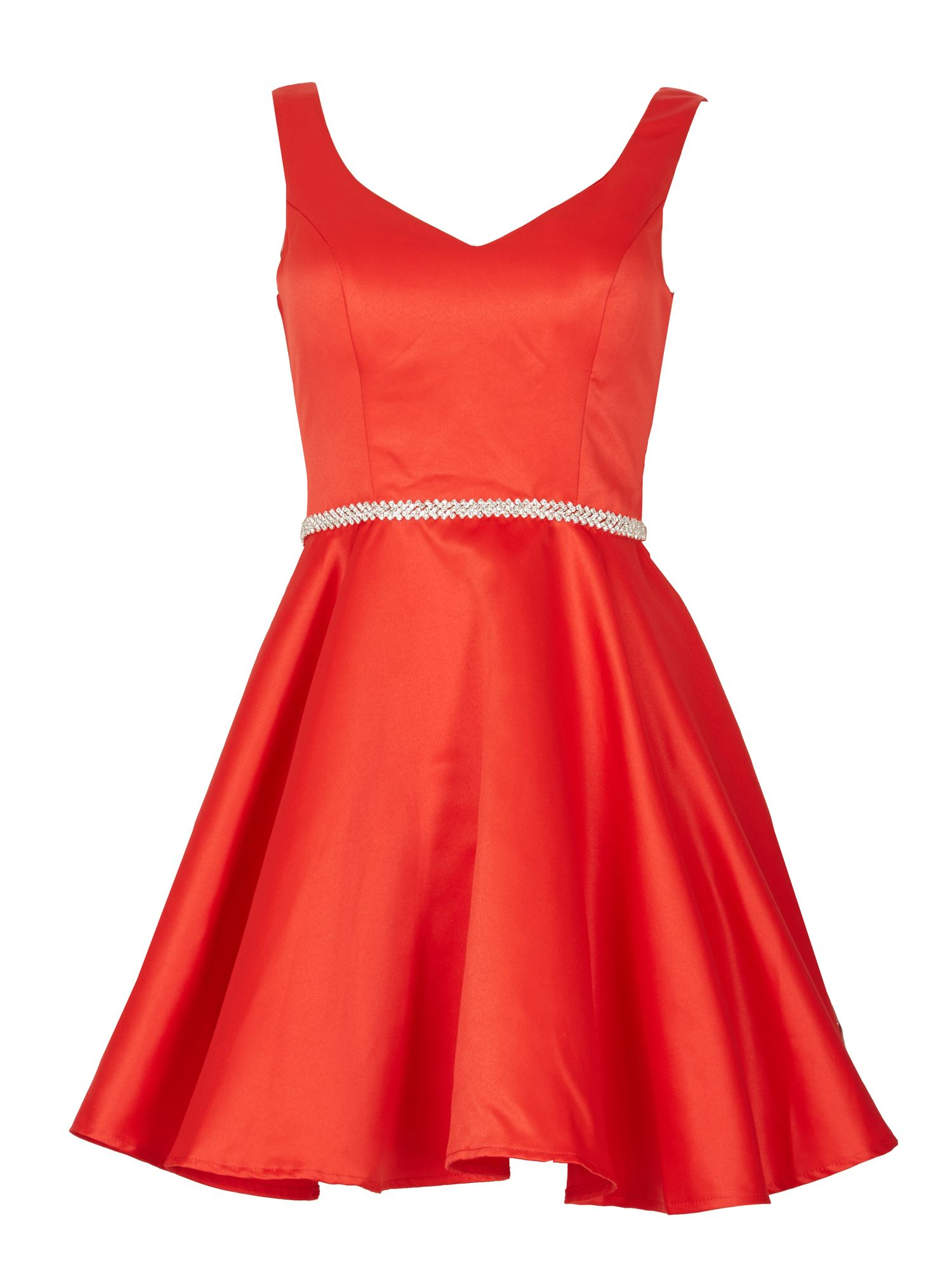 Izabel London Diamante Belt Mini Prom Dress, Red