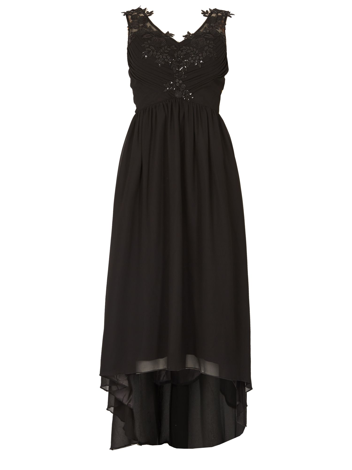 Izabel London Embellished Assymetric Dress, Black