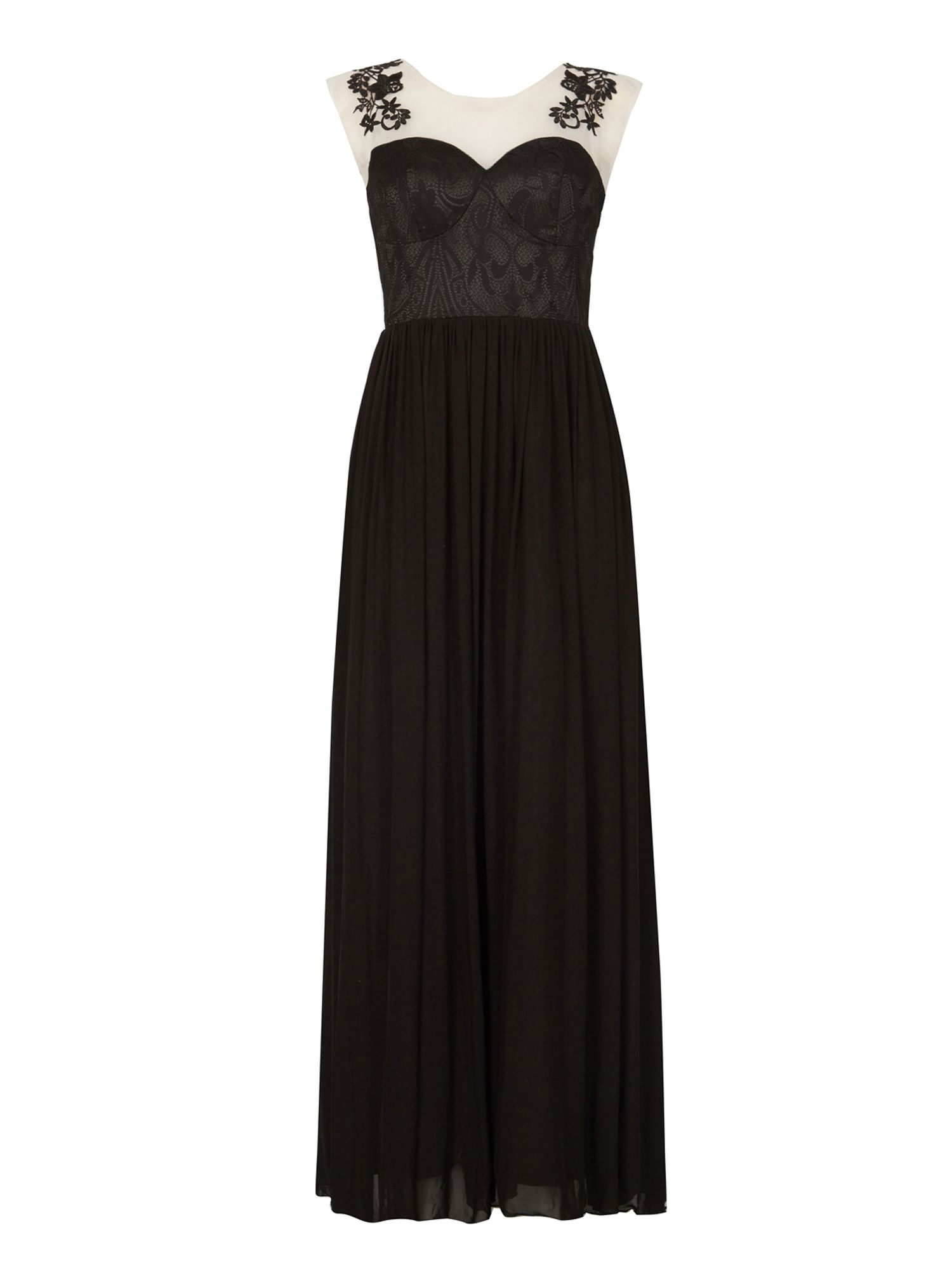 Izabel London Illusion Maxi Dress, Black