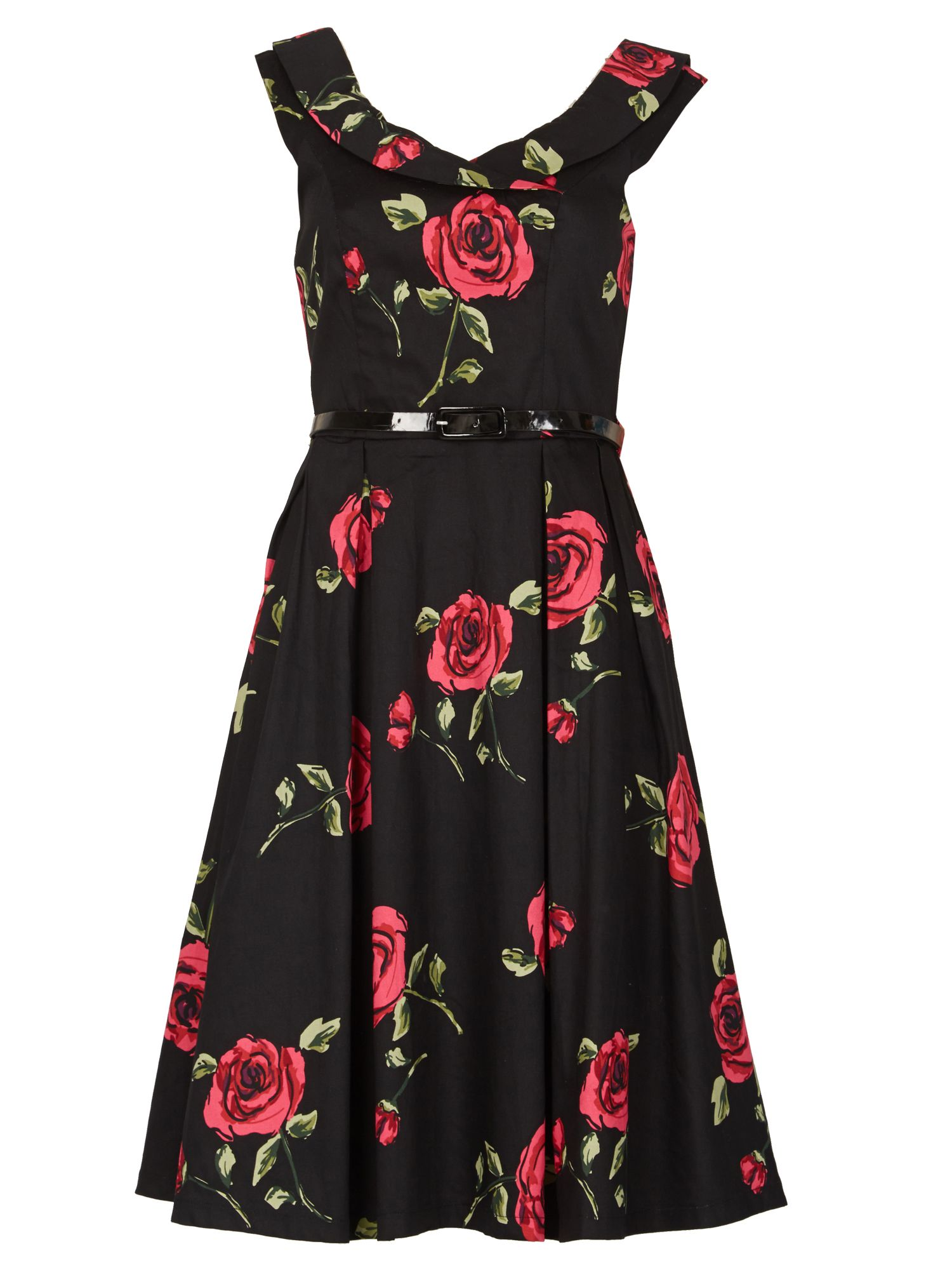 Izabel London Floral Flare Dress, Black