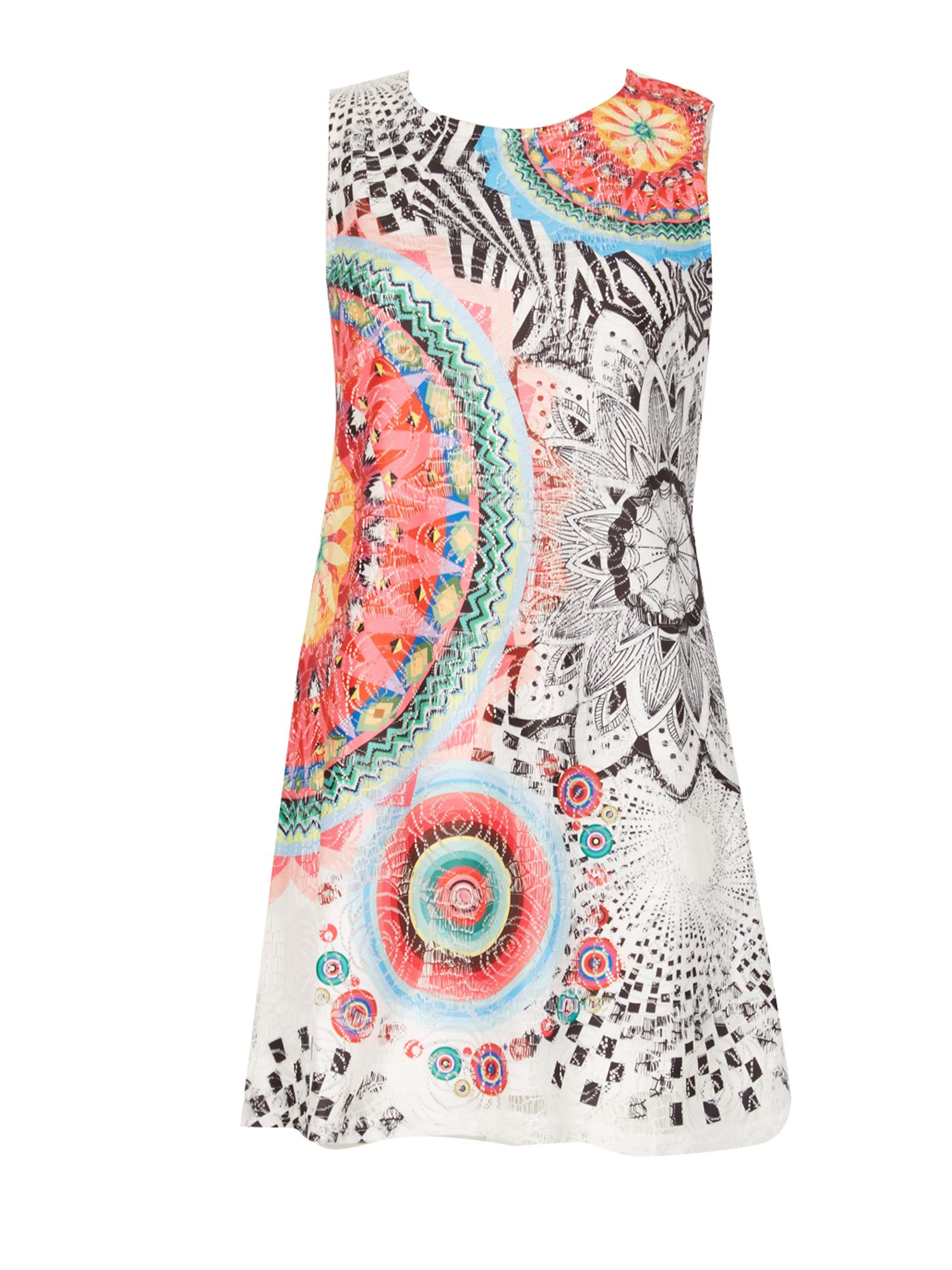 Izabel London London Kaleidoscope Print Shift Dress, Multi-Coloured