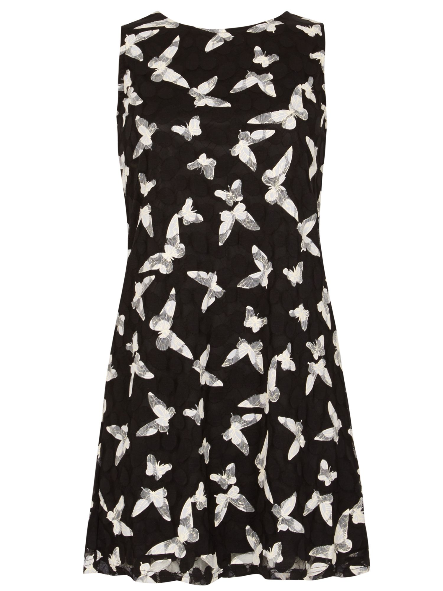 Izabel London Bird Print Lace Dress, Multi-Coloured