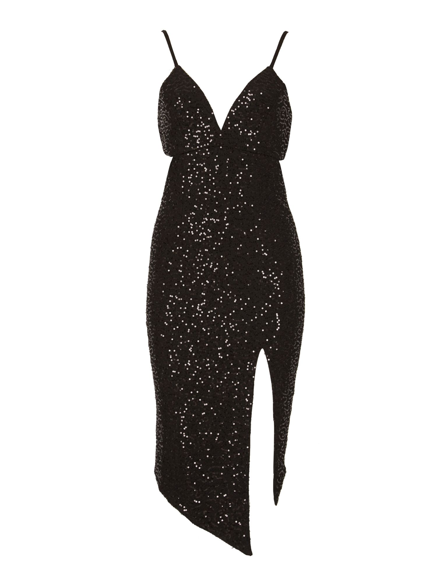 Izabel London Sequined Bodycon Dress, Black