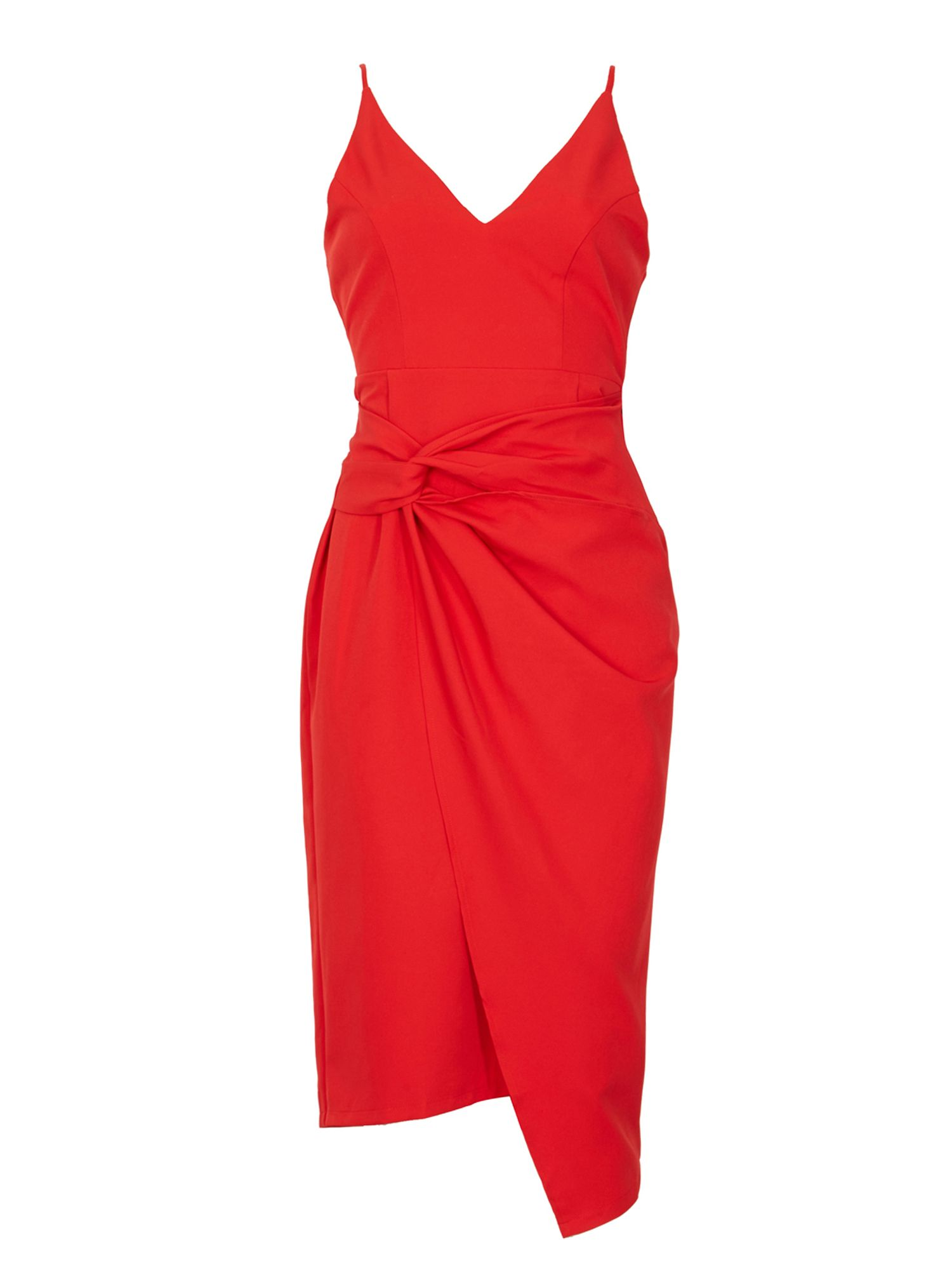 Izabel London Fitted V Neck Dress, Red