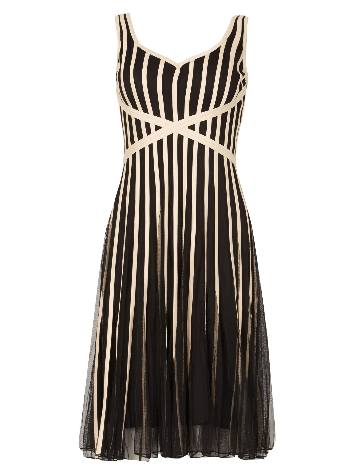 Izabel London Ribbon Float Dress, Black