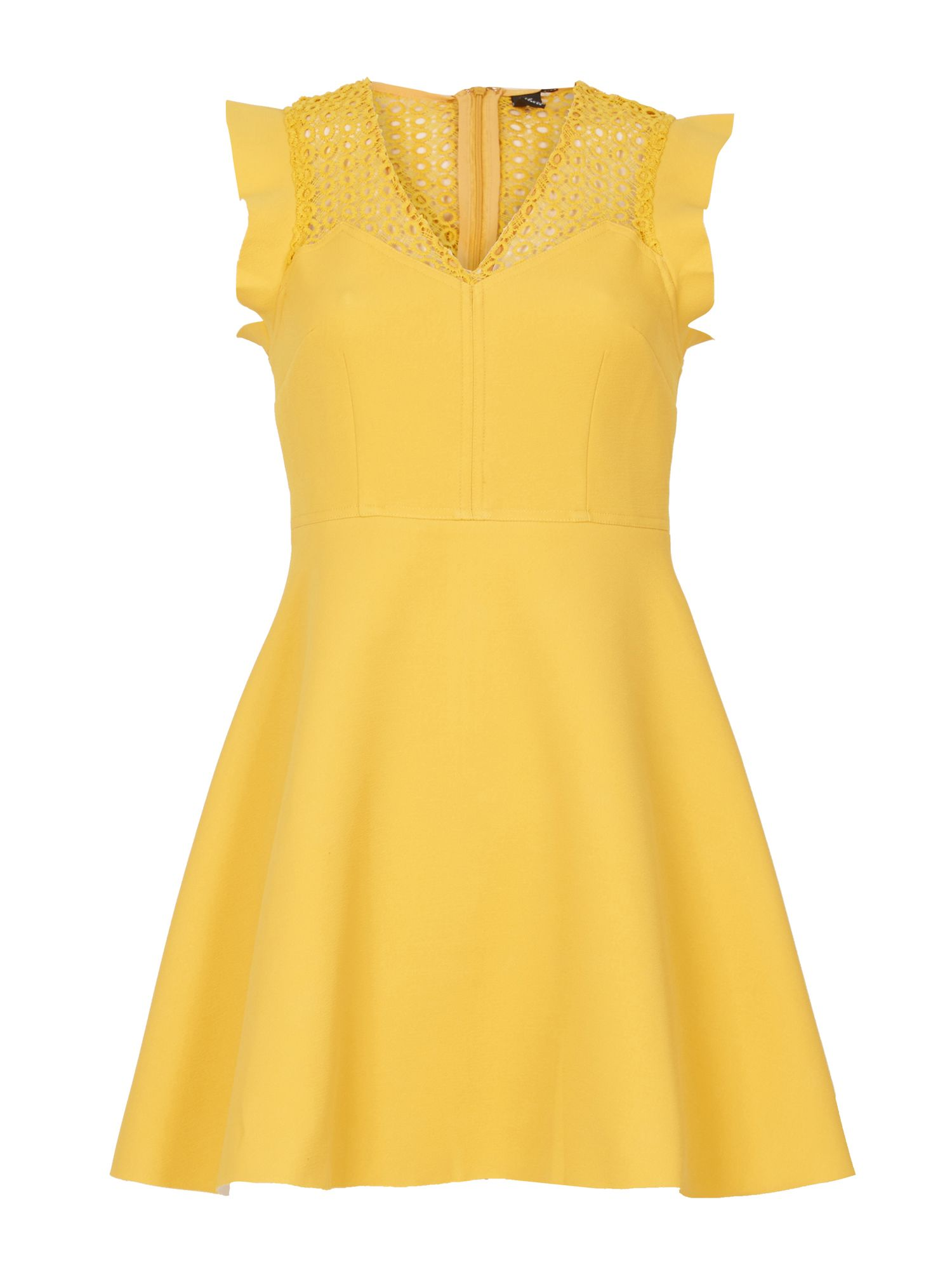 Izabel London Crochet Panel Dress, Yellow