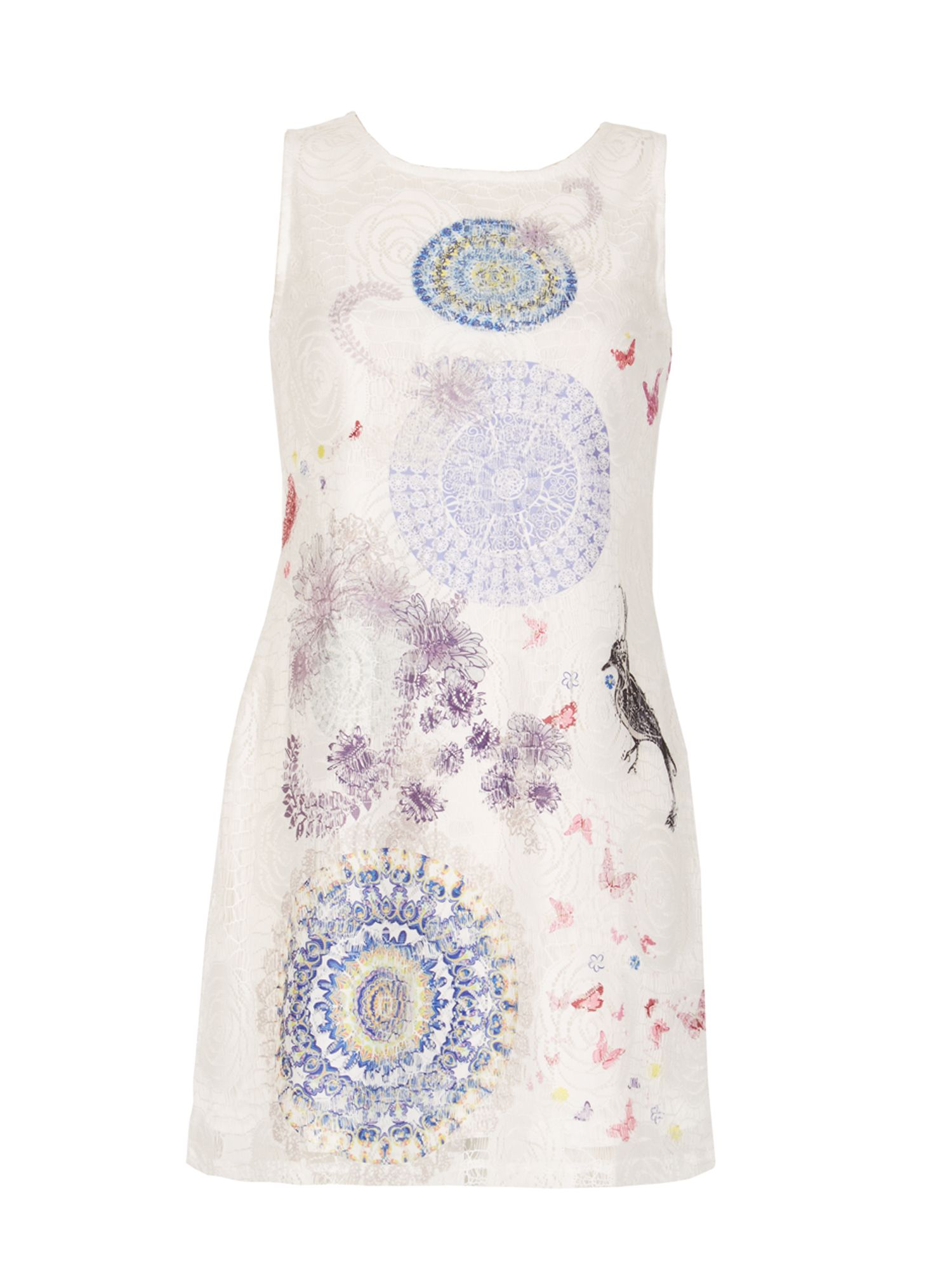 Izabel London Printed Lace Dress, White
