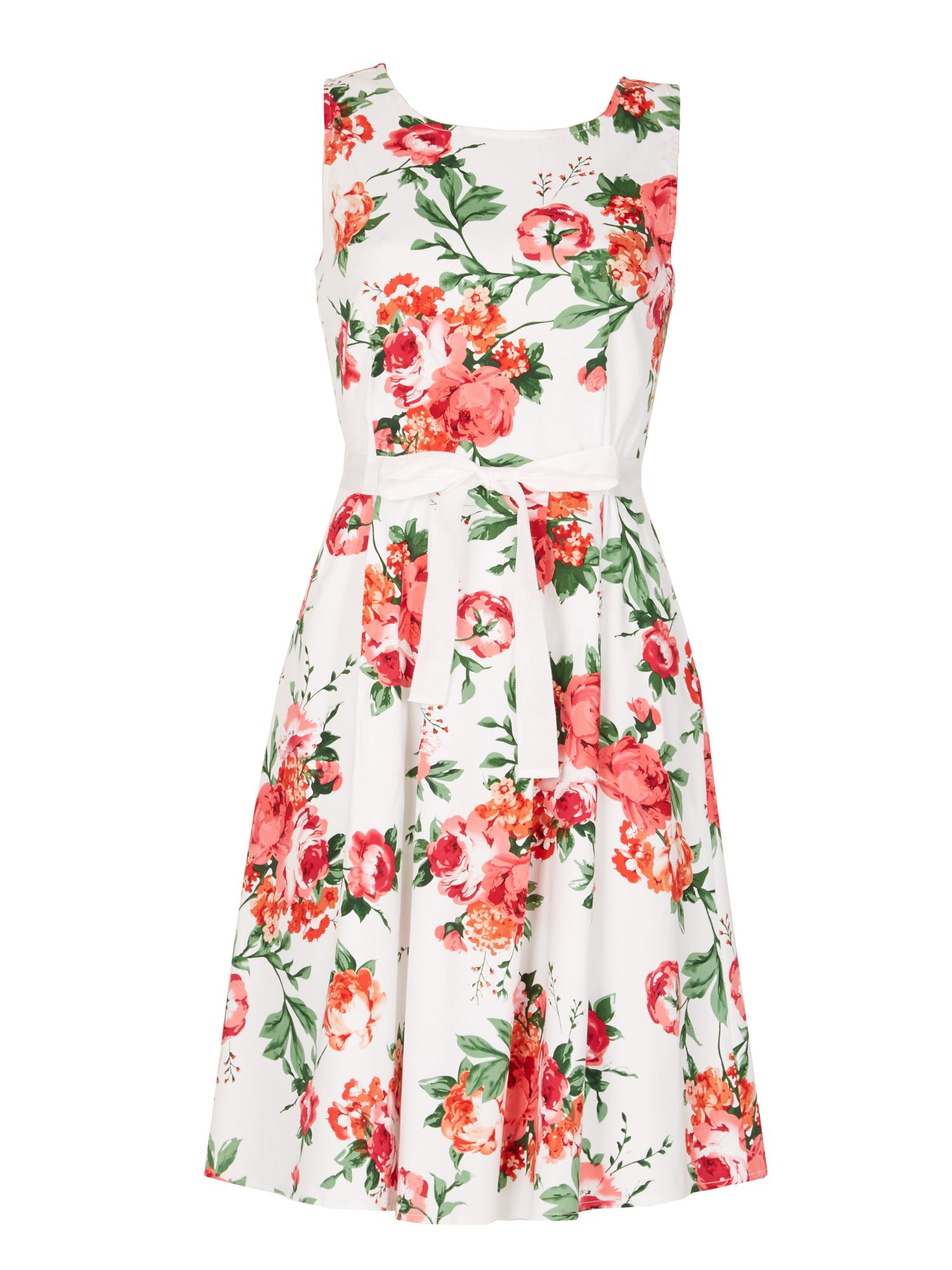 Izabel London Floral Print Skater Dress, Pink