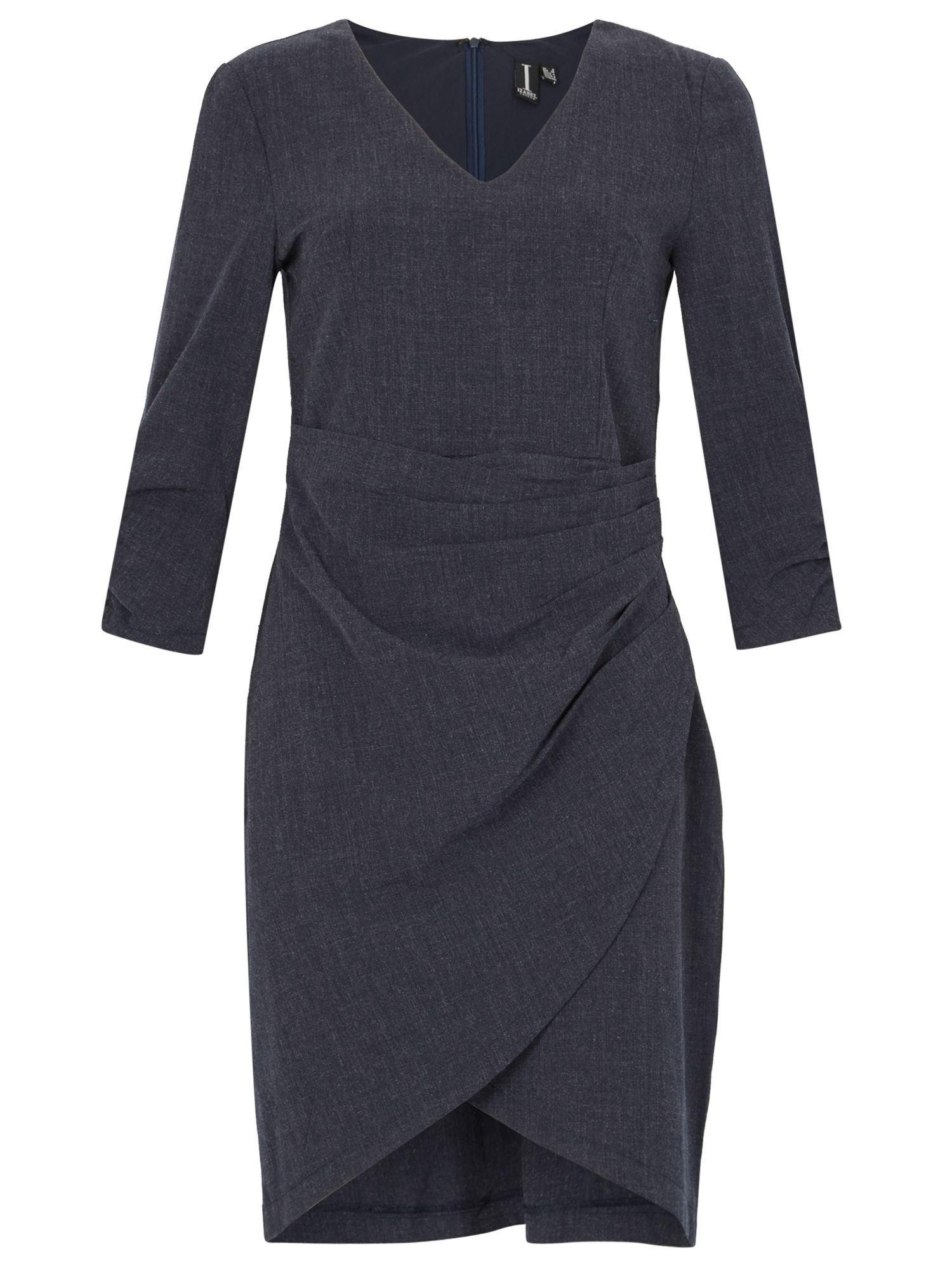 Izabel London Ruche Wrap Dress, Blue