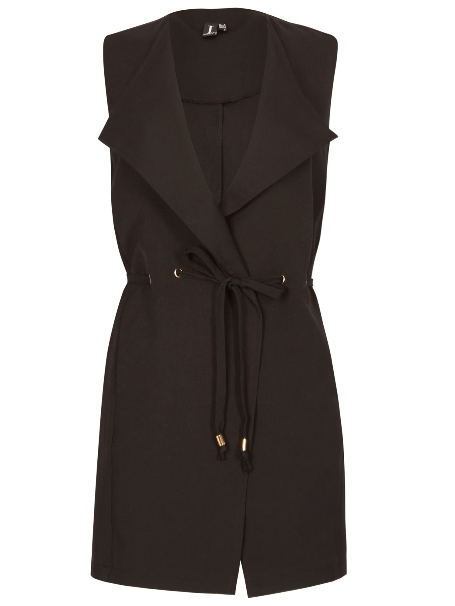Izabel London Tie Waist Sleeveless Jacket, Black
