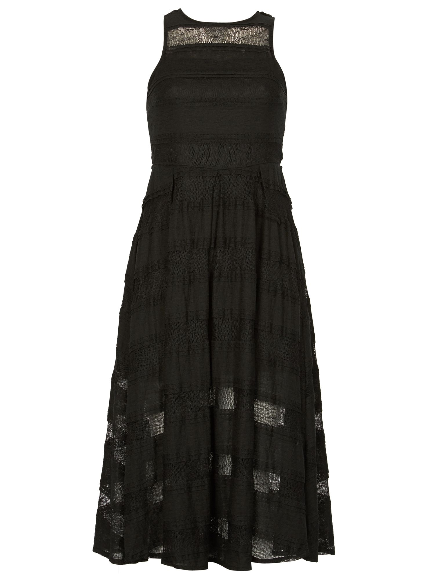 Izabel London Sheer Lace Stripe Dress, Black