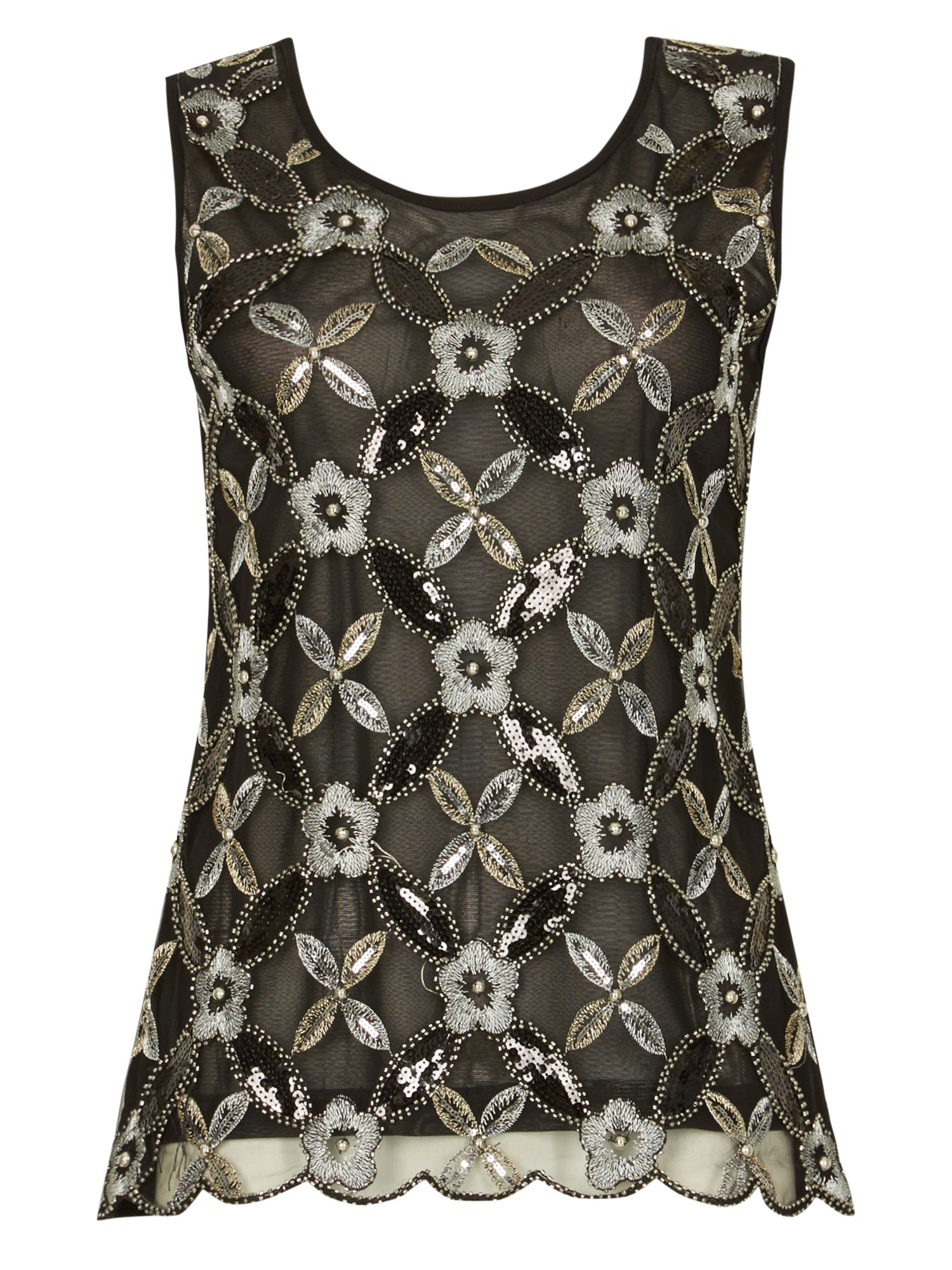 Izabel London Floral Sequin Top, Black