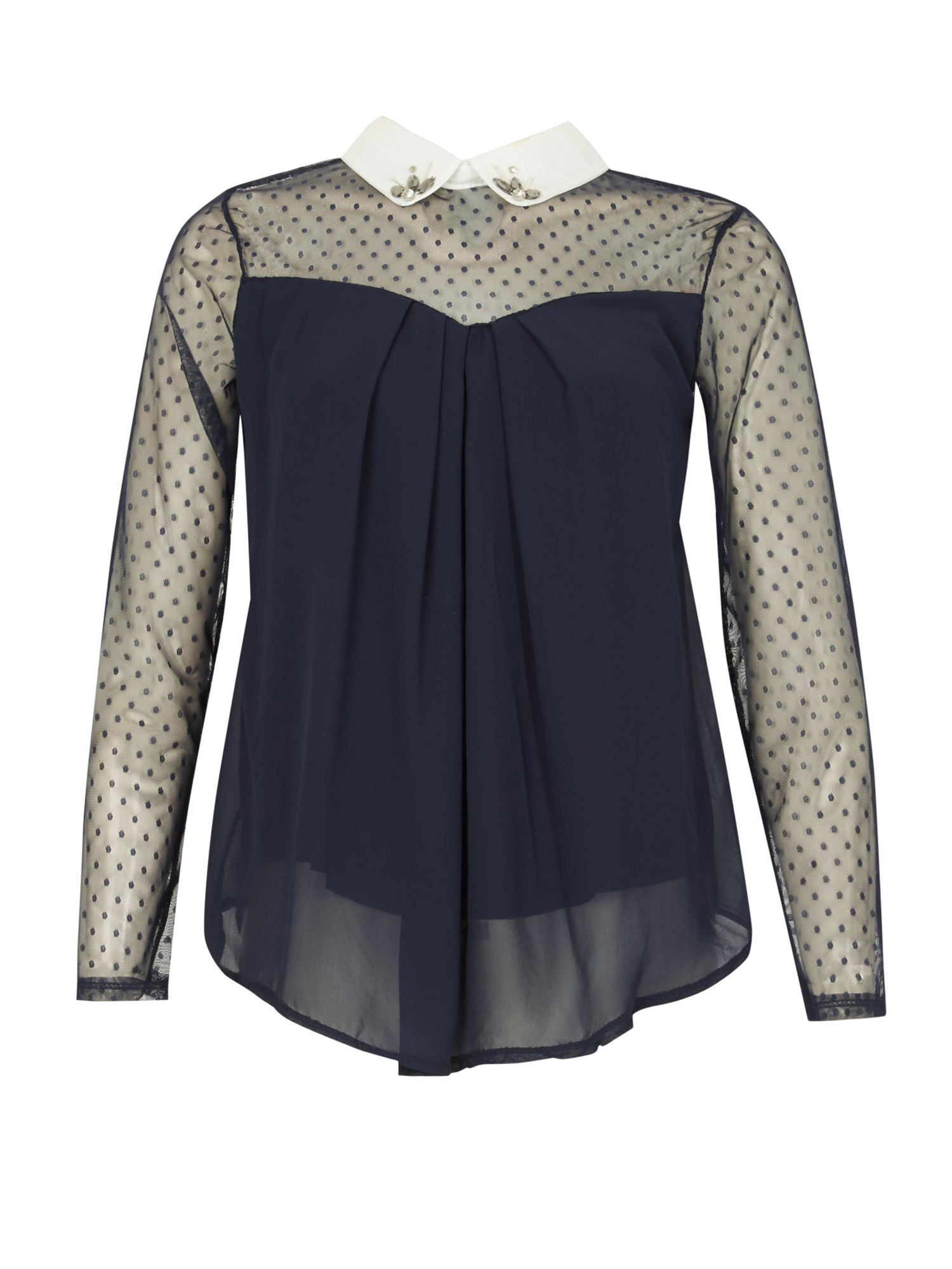 Izabel London Embellished Collar Blouse, Blue