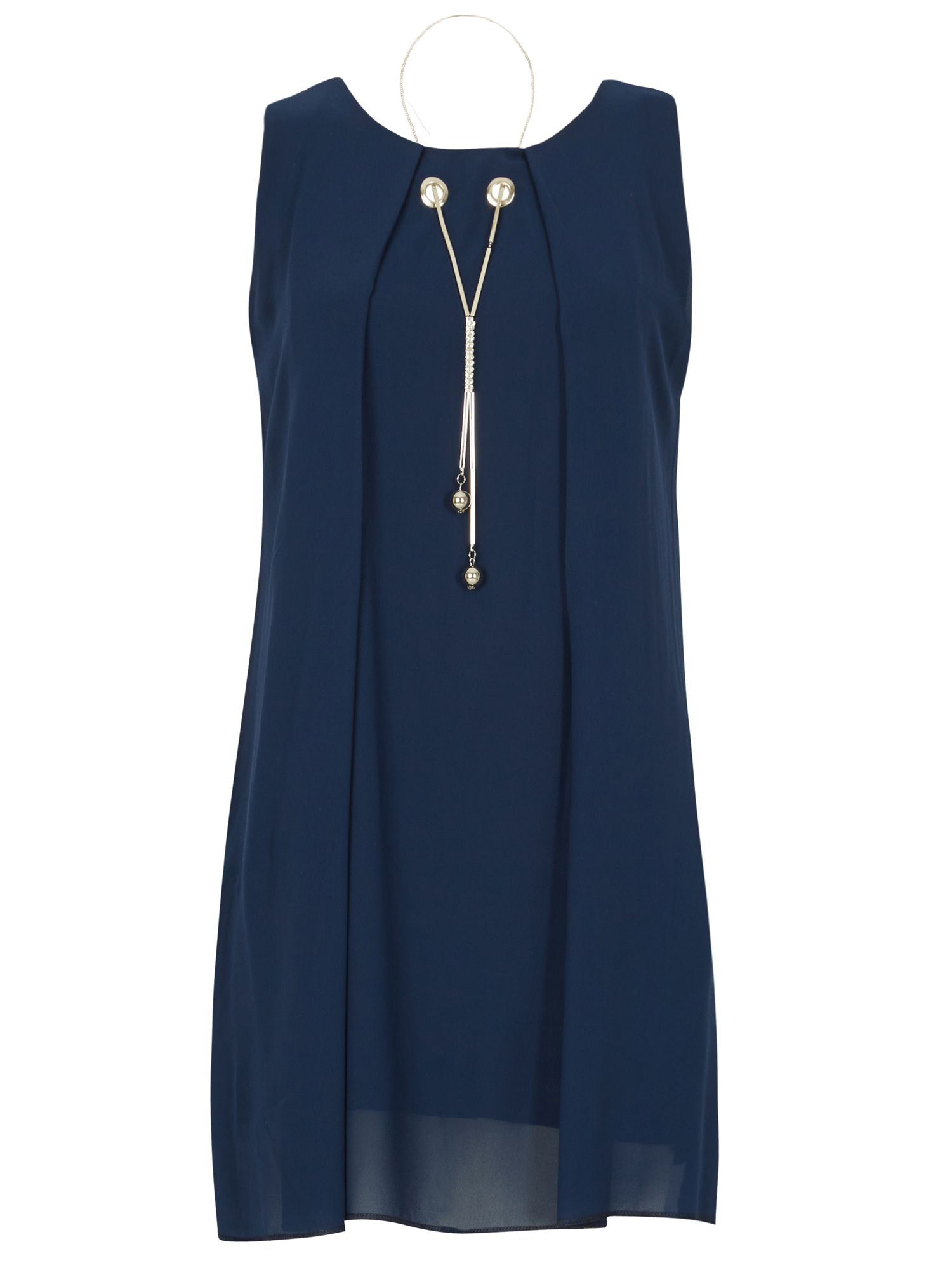 Izabel London Necklace Trim Tunic Top, Blue