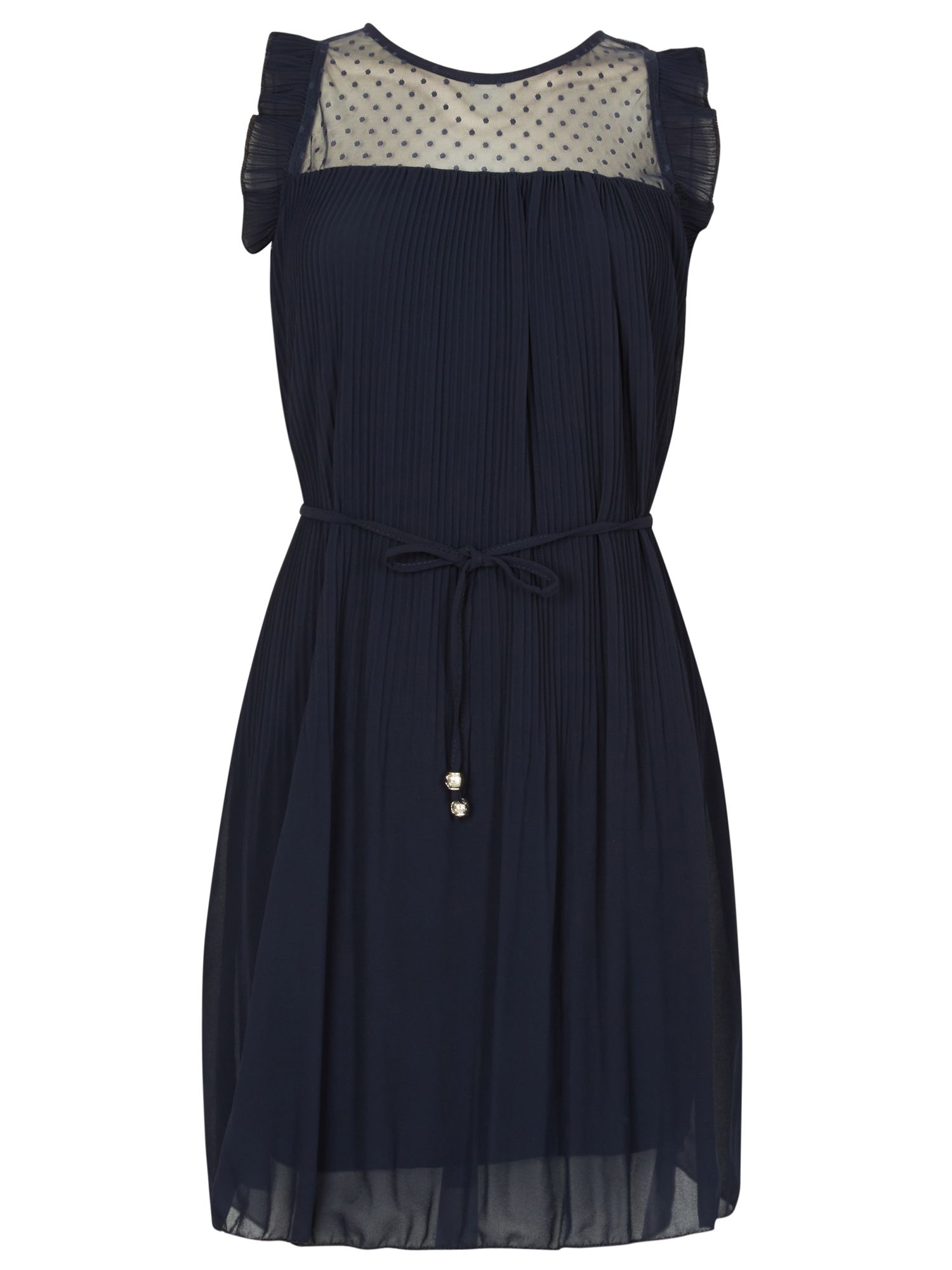 Izabel London Frill Pleated Dress, Blue