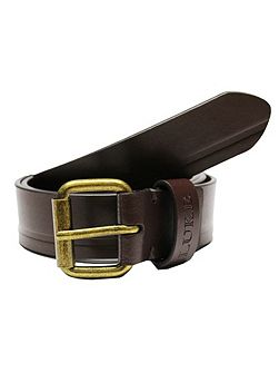 Oscar leather stitch tram line belt