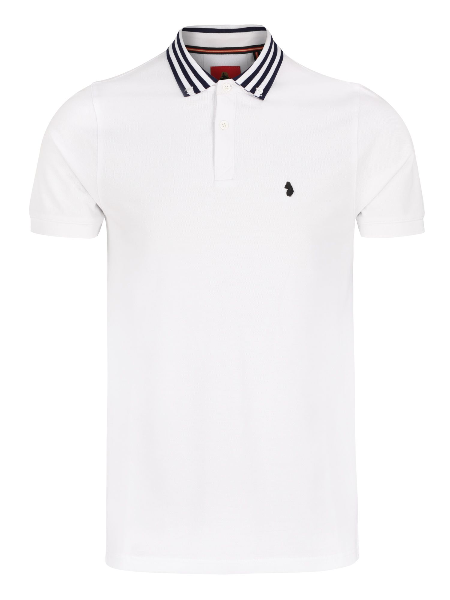 Men's Luke 1977 Turtles head striped collar polo, White