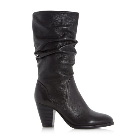 Dune Rossy slouchy leather pull on calf boots