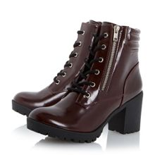 Parlay cleated heeled lace up boots
