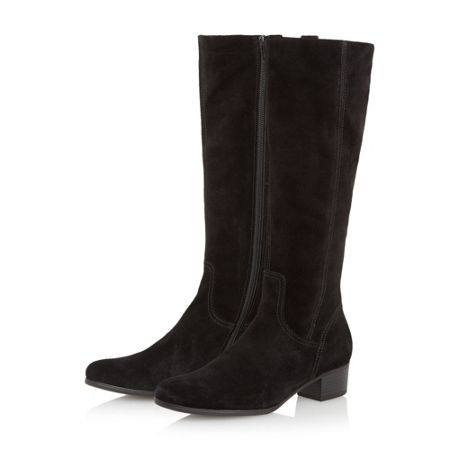 gabor toye suede knee high flat boots black suede house