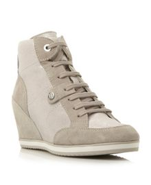Illusion lace up sporty wedges
