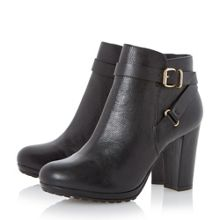 Puggy strap and buckle ankle boots