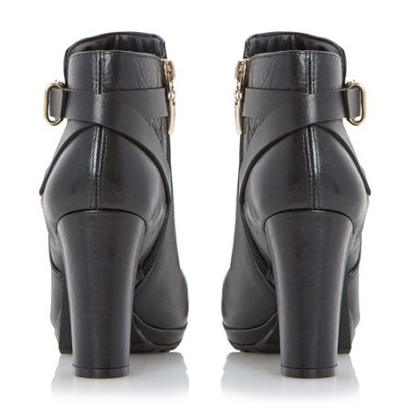 Dune Puggy strap and buckle ankle boots