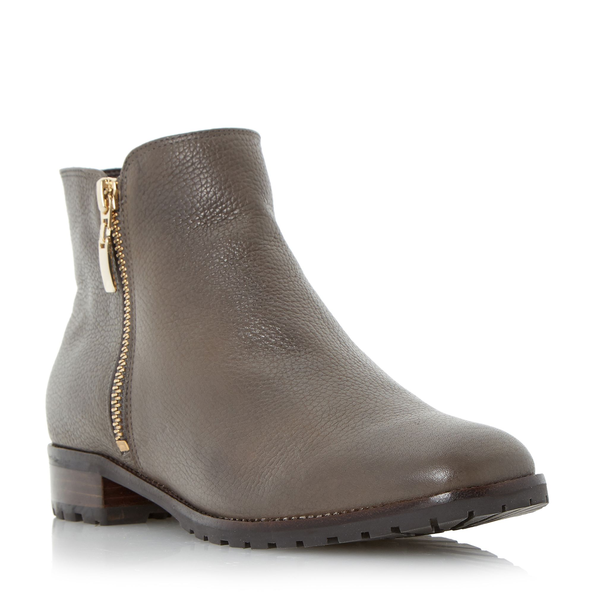 Dune Porta cleated sole side zip ankle boots, Grey