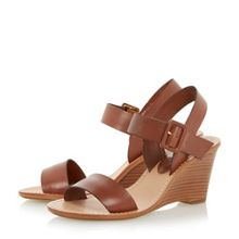 Kingstonn leather stacked wedge sandals