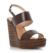 Kyra leather woven wedge sandals