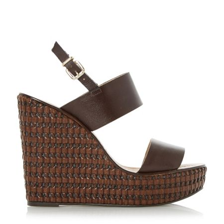 Dune Kyra leather woven wedge sandals