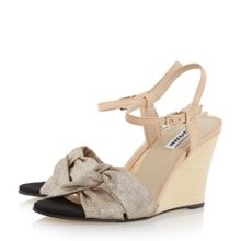 Dune Kingstonn leather stacked wedge sandals