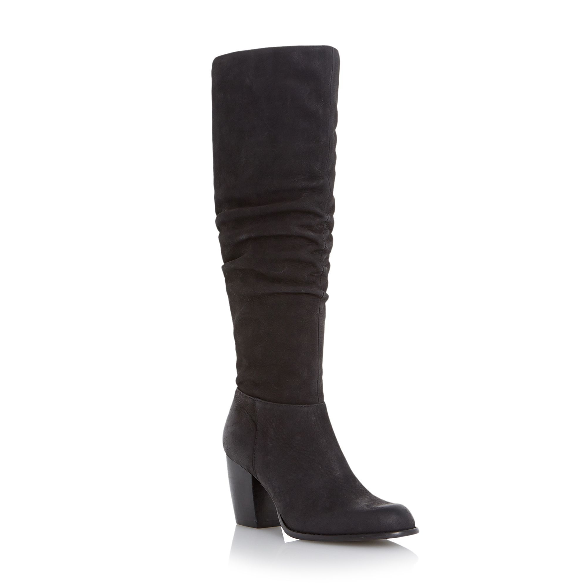 Linea Tayley slouch leather knee high boots Black
