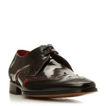 Leather wingtip detail lace up shoes