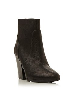 Dune Black Peppar leather mid heel ankle boot