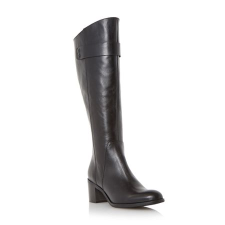Dune Black Tommie back zip block heeled knee boots