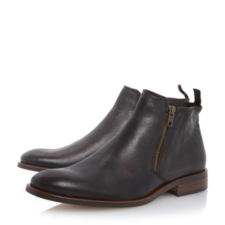 Dune Maccabee side zip leather ankle boots