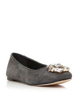 Dune Humphries jewelled square toe flat shoes