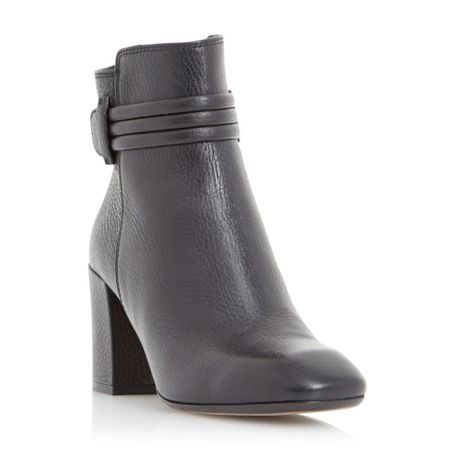 Dune Black Olena square toe leather ankle boot