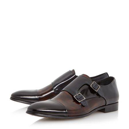 Dune Reynold toecap detail leather monk shoes