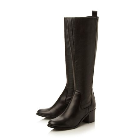 Dune Black Teyla stretch leather knee high boot