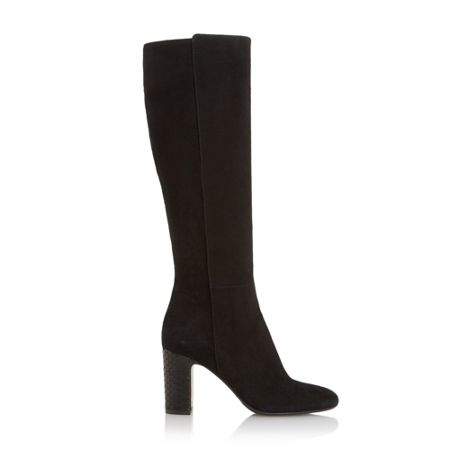 Dune Black Suri knee high snake print heel boot