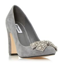 Bambi bejewelled bow detail court shoes