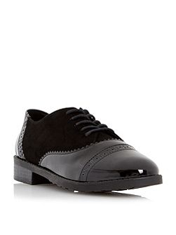 Fixity mixed material lace up brogues