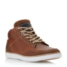 Dune Squizz Leather Perforated Side Trainers
