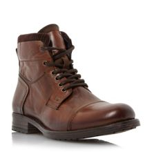 Dune Calabash Padded Cuff Leather Lace Boots