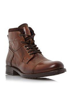 Calabash Padded Cuff Leather Lace Boots
